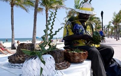 Palm Frond Hat Weaver
